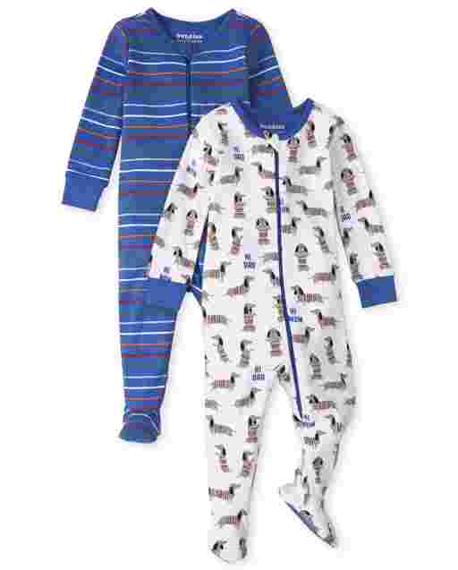 Baby And Toddler Boys Long Sleeve Dog Print And Striped Snug Fit Cotton One Piece Pajamas 2-Pack