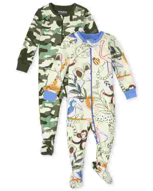 Baby And Toddler Boys Long Sleeve Animal And Camo Snug Fit Cotton One Piece Pajamas 2-Pack
