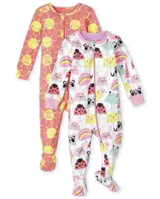 Baby And Toddler Girls Sun And Umbrella Print Snug Fit Cotton One Piece Pajamas 2-Pack