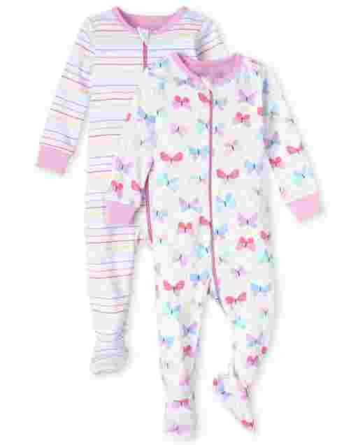 Baby And Toddler Girls Long Sleeve Striped And Butterfly Snug Fit Cotton One Piece Pajamas 2-Pack