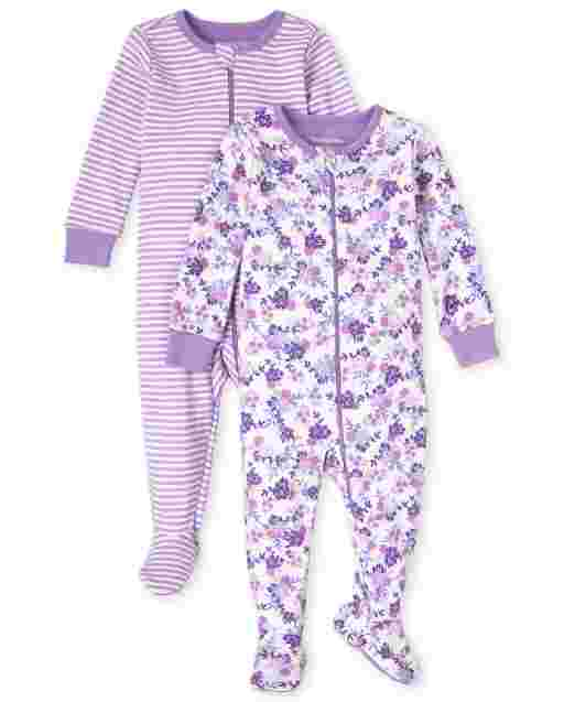 Baby And Toddler Girls Long Sleeve Striped And Floral Print Snug Fit Cotton One Piece Pajamas 2-Pack