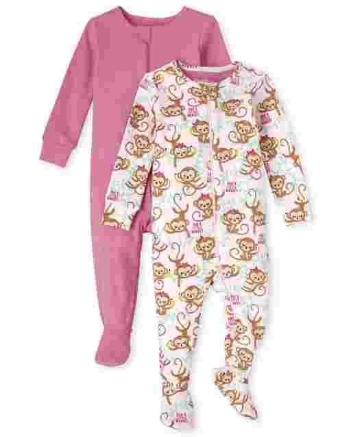 Baby And Toddler Girls Long Sleeve Solid And Monkey Print Snug Fit Cotton One Piece Pajamas 2-Pack