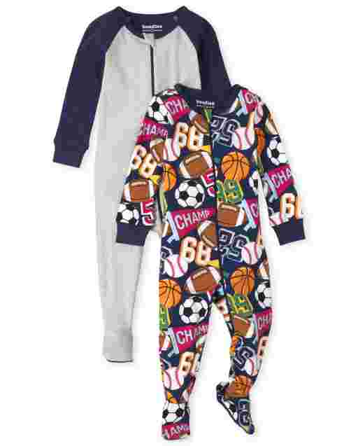 Baby And Toddler Boys Long Sleeve Sports Snug Fit Cotton One Piece Pajamas 2-Pack