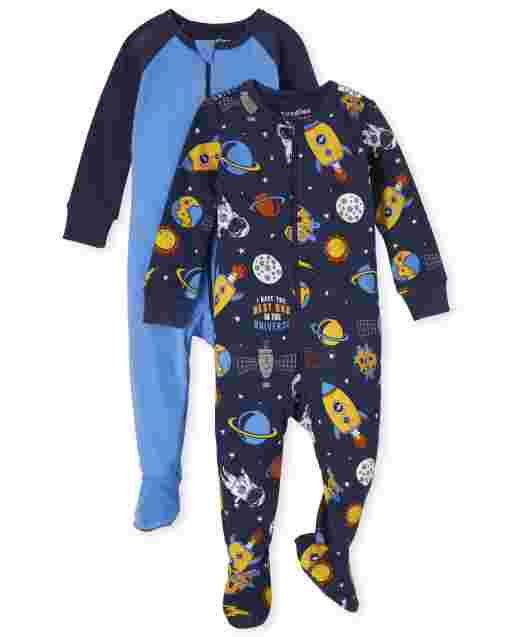 Baby And Toddler Boys Long Sleeve Solid And Space Print Snug Fit Cotton One Piece Pajamas 2-Pack