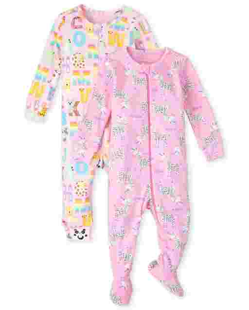 Baby And Toddler Girls Long Sleeve ABC Animal Snug Fit Cotton One Piece Pajamas 2-Pack