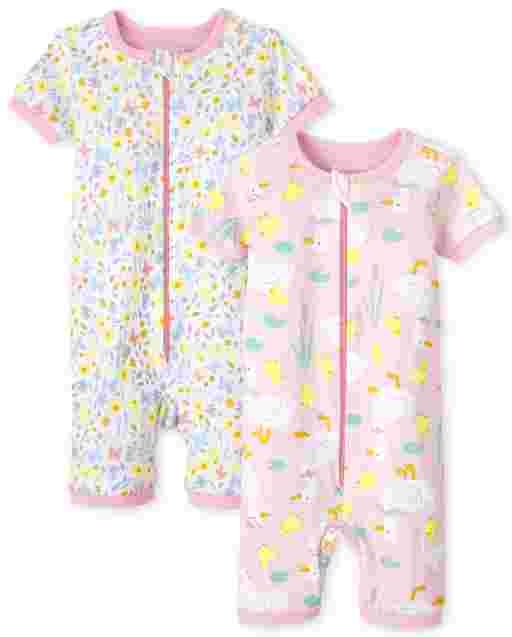 Baby And Toddler Girls Short Sleeve Floral And Duck Print Snug Fit Cotton Cropped One Piece Pajamas 2-Pack