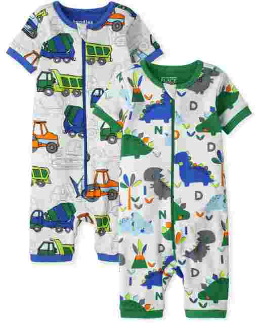 Baby And Toddler Boys Short Sleeve Dino And Trucks Print Cropped Snug Fit Cotton One Piece Pajamas 2-Pack