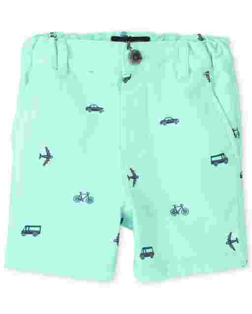 Baby And Toddler Boys Transportation Print Woven Chino Shorts
