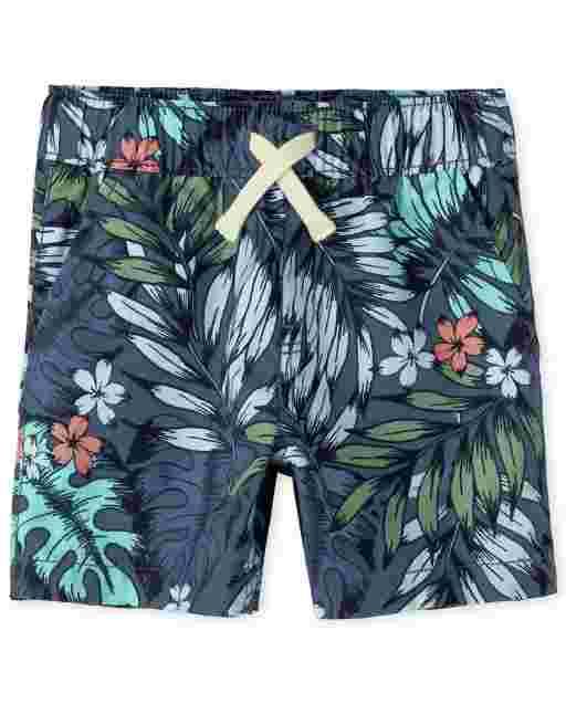 Pantalones cortos tipo jogging tejidos con estampado de bebé y niños pequeños