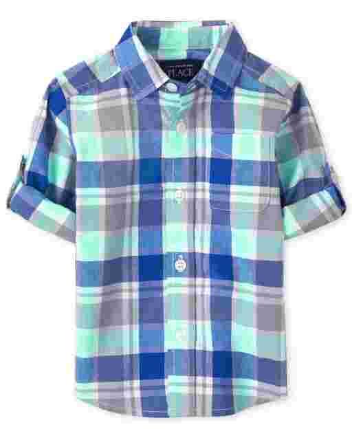 Camisa con botones de popelina a cuadros de manga larga enrollada para bebés y niños pequeños
