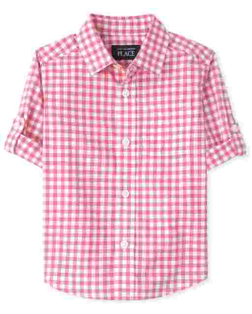 Baby And Toddler Boys Long Sleeve Gingham Poplin Button Down Shirt