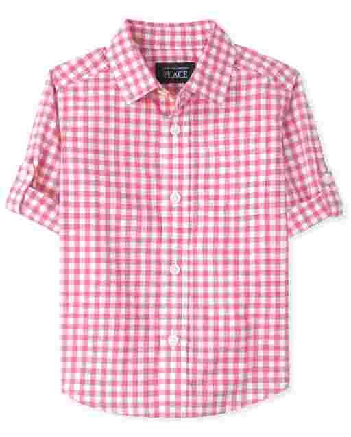 Camisa de popelina con botones de cuadros vichy de manga larga para bebés y niños pequeños