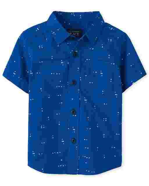 Baby And Toddler Boys Short Sleeve Print Poplin Button Down Shirt