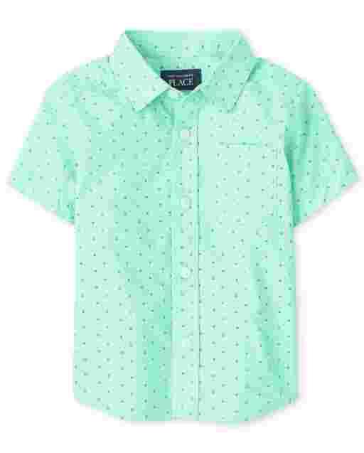 Baby And Toddler Boys Short Sleeve Dot Print Poplin Button Down Shirt