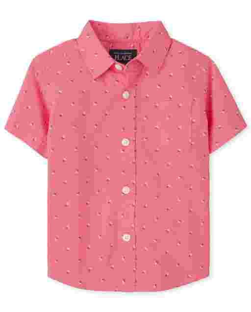 Camisa con botones de popelina estampada de manga corta para bebés y niños pequeños
