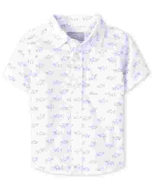 Baby And Toddler Boys Short Sleeve Shark Print Poplin Button Down Shirt