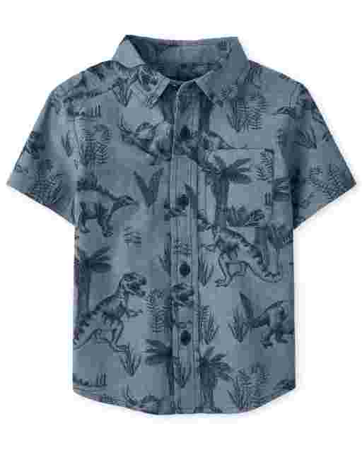 Baby And Toddler Boys Short Sleeve Dino Chambray Poplin Button Down Shirt