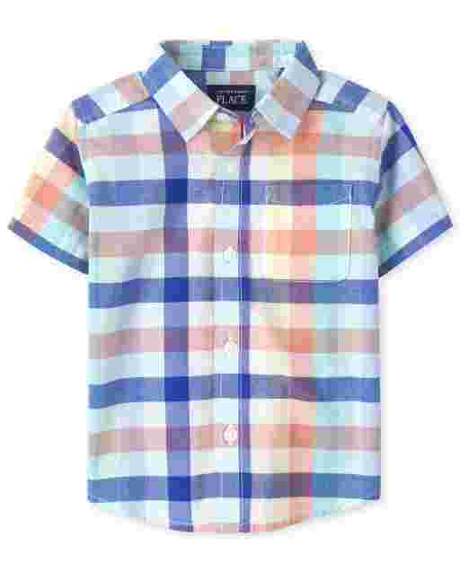 Baby And Toddler Boys Short Sleeve Plaid Poplin Button Down Shirt