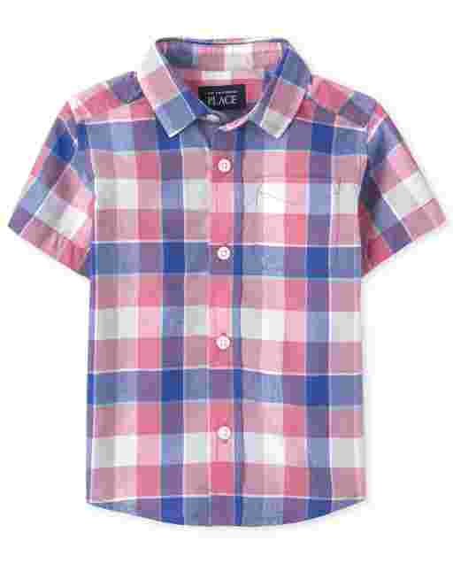 Baby And Toddler Boys Dad And Me Long Sleeve Plaid Poplin Button Down Shirt