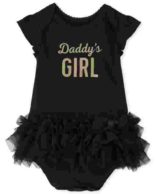 Baby Girls Short Flutter Sleeve Glitter 'Daddy's Girl' Tutu Bodysuit