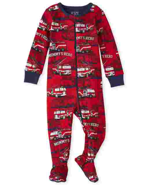 Baby And Toddler Boys Long Sleeve Fire Truck Snug Fit Cotton One Piece Pajamas