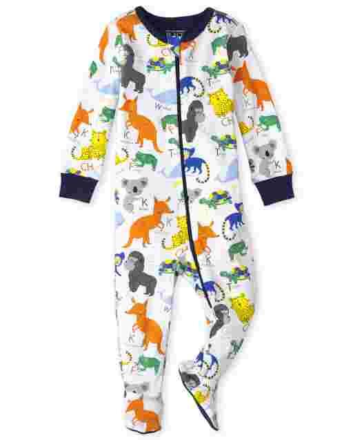 Baby And Toddler Boys Long Sleeve ABC Animal Snug Fit Cotton One Piece Pajamas