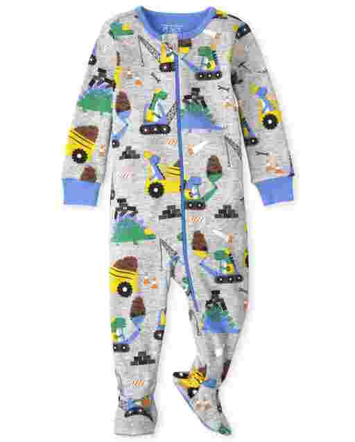 Baby And Toddler Boys Long Sleeve Dino Construction Snug Fit Cotton One Piece Pajamas