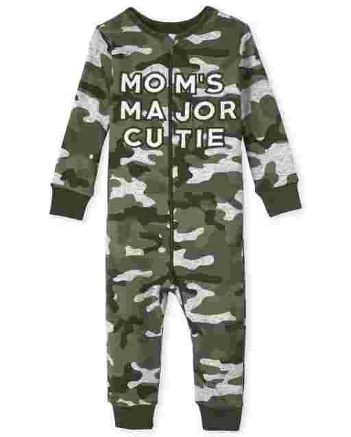 Baby And Toddler Boys Long Sleeve 'Mom's Major Cutie' Camo Snug Fit Cotton One Piece Pajamas