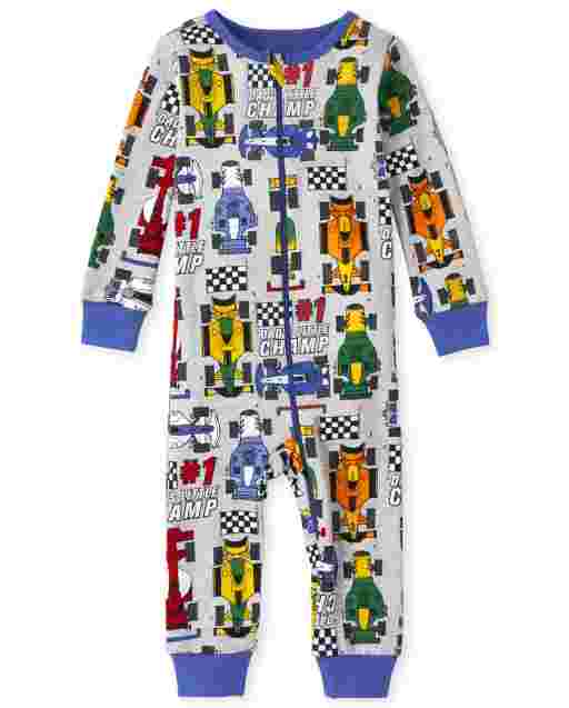 Baby And Toddler Boys Long Sleeve Race Car Print Snug Fit Cotton One Piece Pajamas