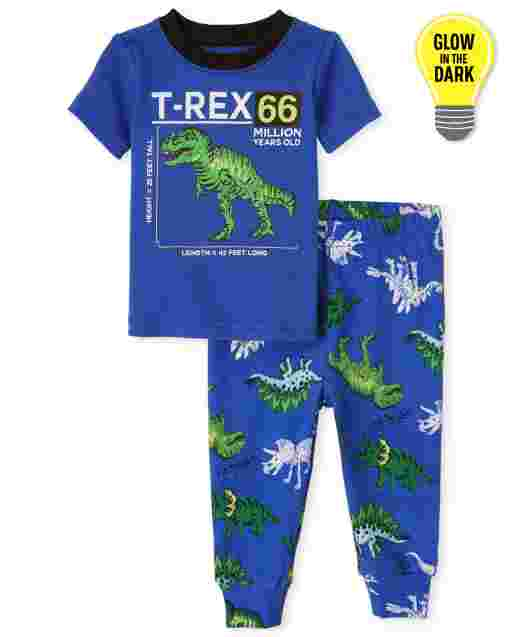 Baby And Toddler Boys Short Sleeve Glow In The Dark 'T-Rex' Dino Snug Fit Cotton Pajamas