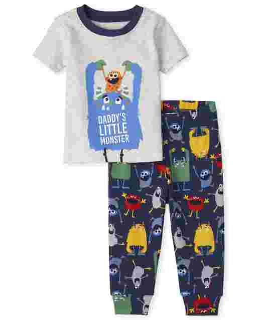 Baby And Toddler Boys Short Sleeve 'Daddy's Little Monster' Snug Fit Cotton Pajamas