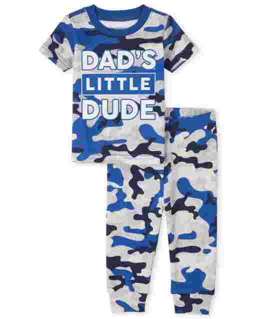 Baby And Toddler Boys Short Sleeve 'Dad's Little Dude' Camo Snug Fit Cotton Pajamas