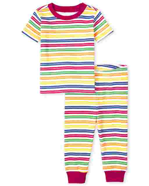 Unisex Baby And Toddler Matching Family Short Sleeve Striped Matching Snug Fit Cotton Pajamas