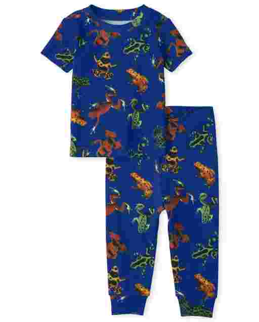 Baby And Toddler Boys Short Sleeve Frog Print Snug Fit Cotton Pajamas