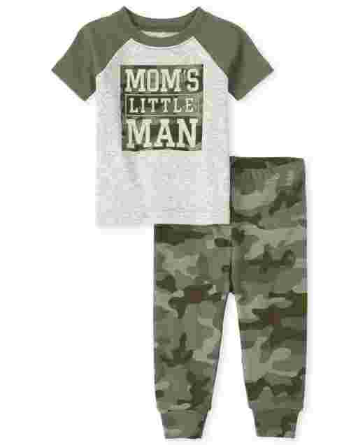 Baby And Toddler Boys Short Sleeve 'Mom's Little Man' Camo Snug Fit Cotton Pajamas