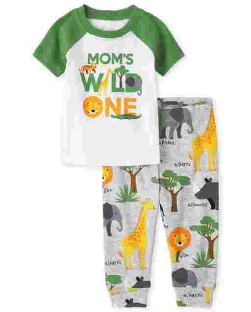 Baby And Toddler Boys Short Sleeve 'Mom' Wild One' Safari Animals Snug Fit Cotton Pajama