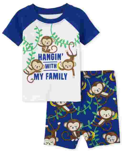 Baby And Toddler Boys Short Sleeve 'Hangin' With My Family' Monkey Snug Fit Cotton Pajamas