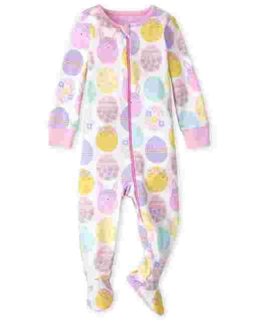 Baby And Toddler Girls Long Sleeve Easter Bunny Snug Fit Cotton One Piece Pajamas