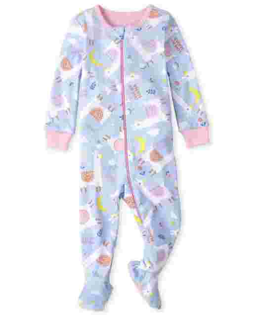 Baby And Toddler Girls Long Sleeve Llama Snug Fit Cotton One Piece Pajamas