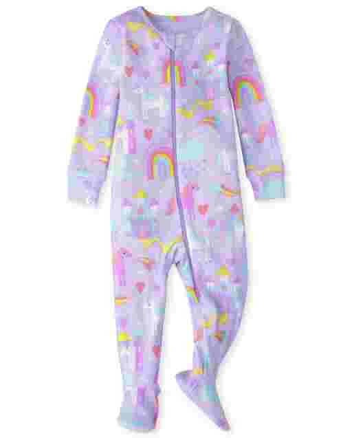 Baby And Toddler Girls Long Sleeve Magical Unicorn Snug Fit Cotton One Piece Pajamas