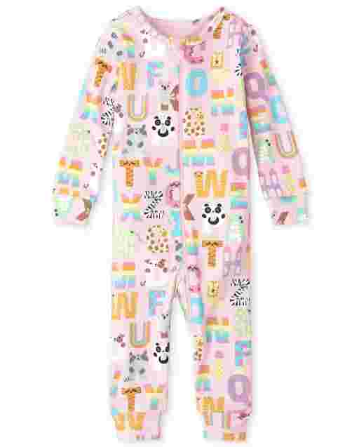 Baby And Toddler Girls Long Sleeve ABC Animal Snug Fit Cotton One Piece Pajamas
