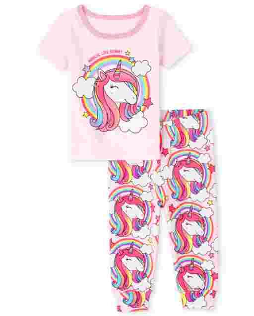 Baby And Toddler Girls Short Sleeve Unicorn Rainbow Snug Fit Cotton Pajamas