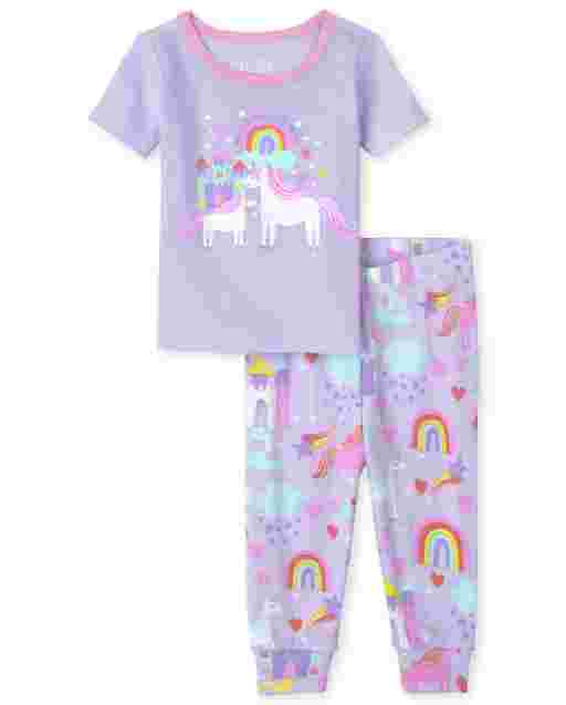 Baby And Toddler Girls Short Sleeve Glow In The Dark 'Magical Like Mom' Unicorn Snug Fit Cotton Pajamas