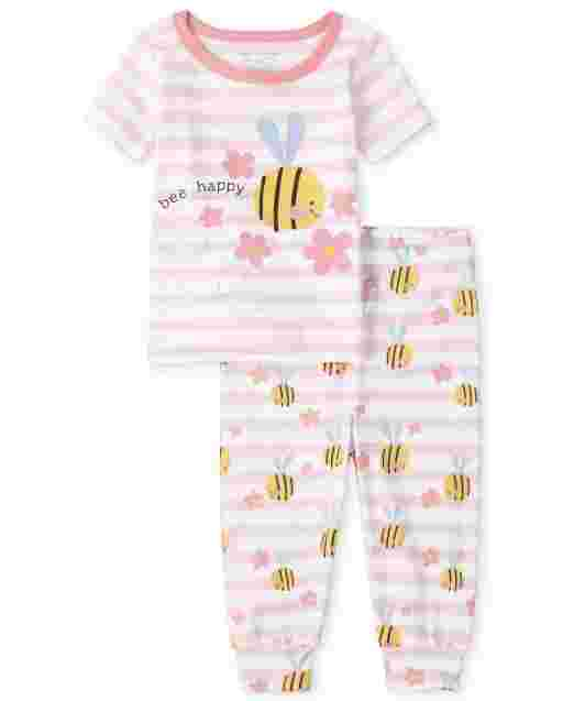 Baby And Toddler Girls Short Sleeve 'Bee Happy' Striped Snug Fit Cotton Pajamas