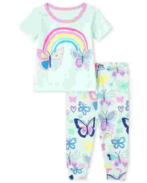 Baby And Toddler Girls Short Sleeve Rainbow And Butterfly Snug Fit Cotton Pajamas