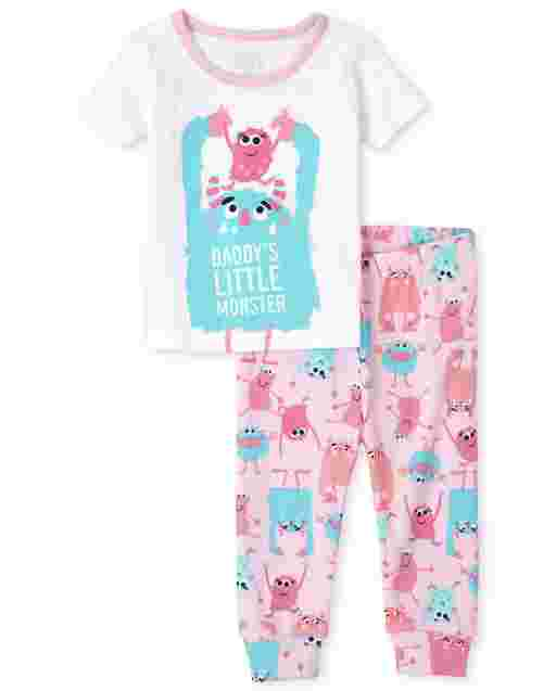 Baby And Toddler Girls Short Sleeve 'Daddy's Little Monster' Snug Fit Cotton Pajamas