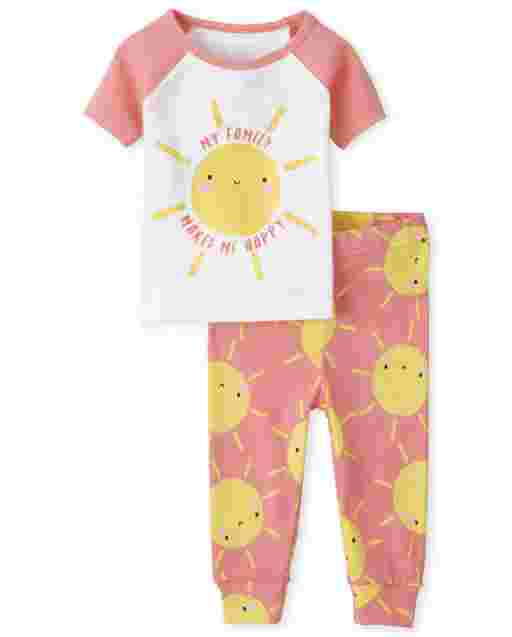 Baby And Toddler Girls Short Sleeve 'My Family Makes Me Happy' Sun Snug Fit Cotton Pajamas