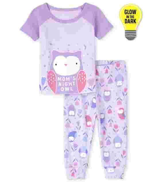 Baby And Toddler Girls Short Sleeve Glow In The Dark Owl Snug Fit Cotton Pajamas