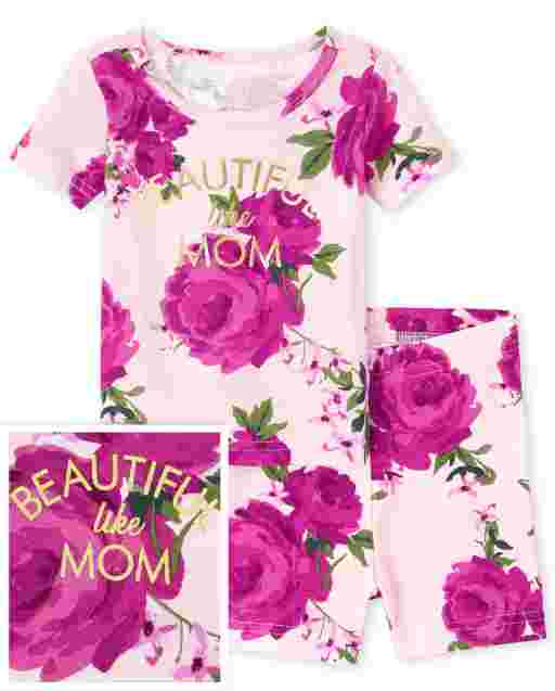 Baby And Toddler Girls Mommy And Me Short Sleeve 'Beautiful Like Mom' Floral Snug Fit Cotton Pajamas