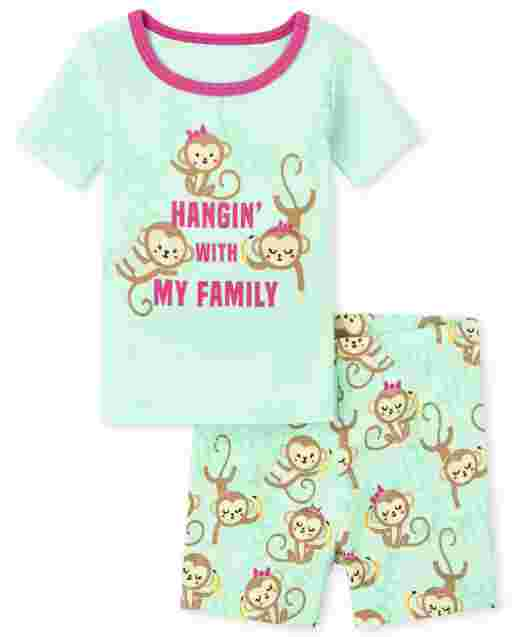 Baby And Toddler Girls Short Sleeve 'Hangin' With My Family' Monkey Snug Fit Cotton Pajamas